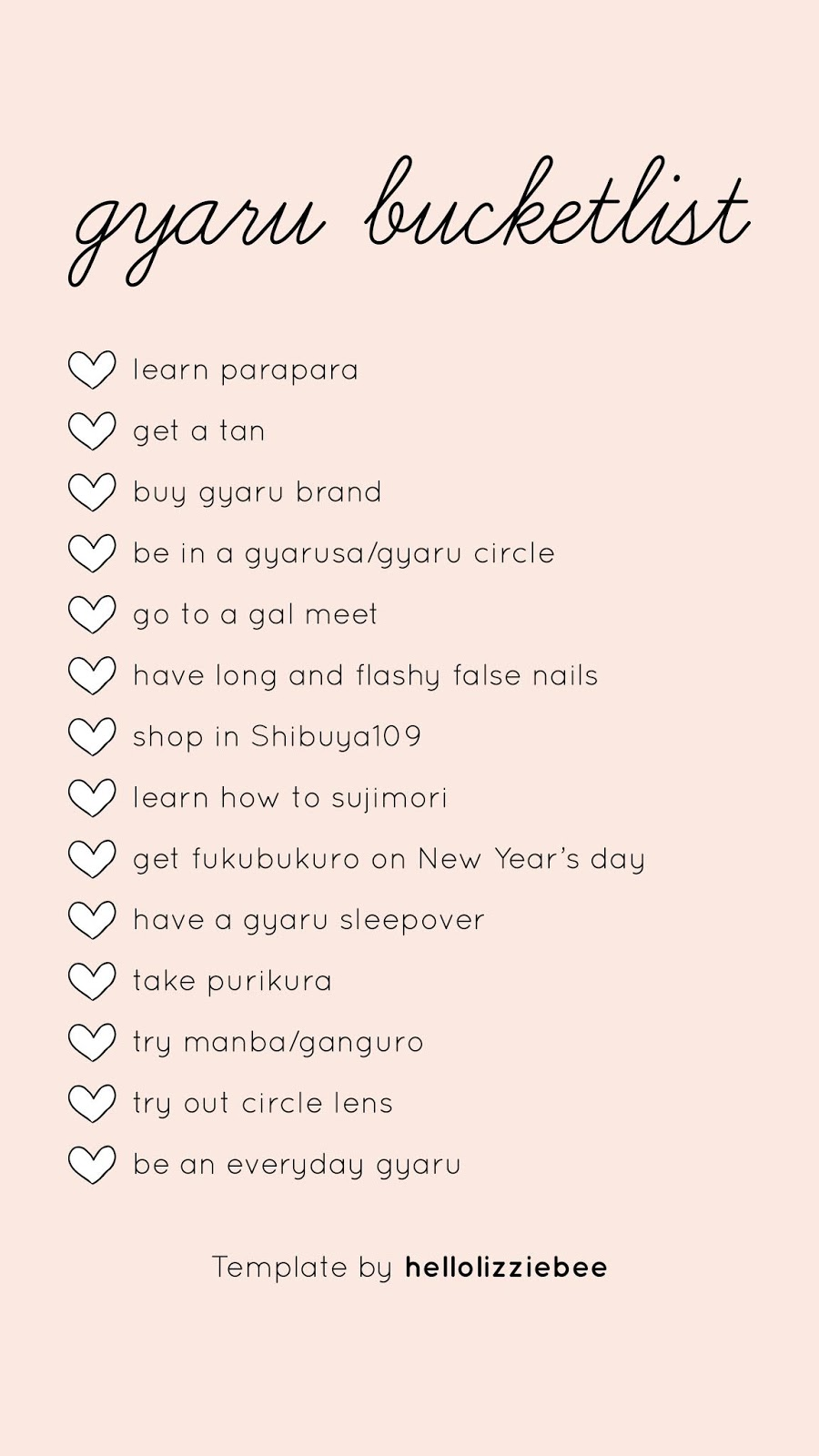 gyaru bucketlist instagram stories