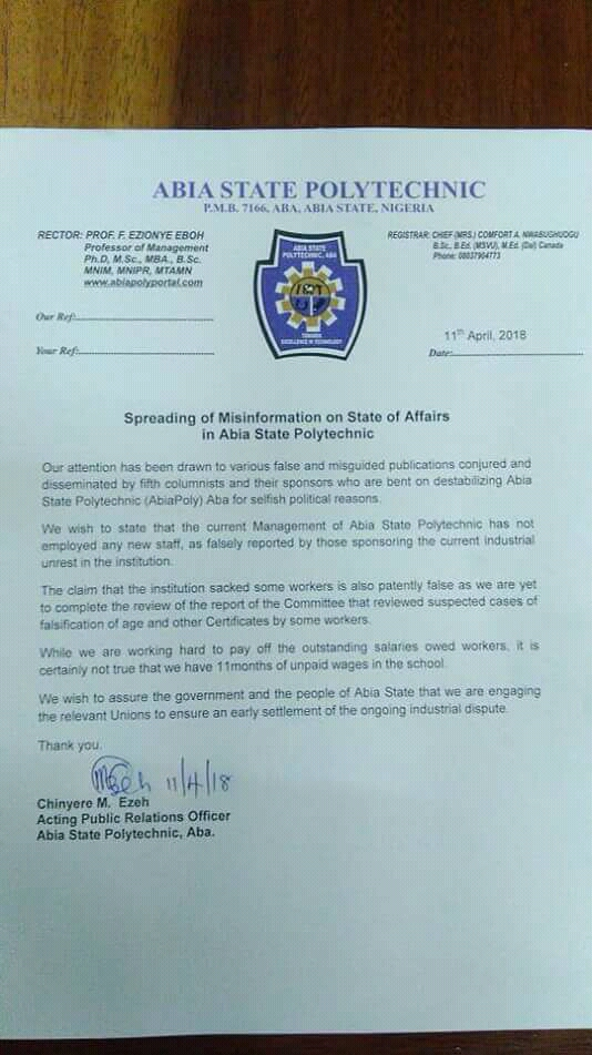 ABIA POLY: Spreading of Misinformation on state of affairs in Abia State Polytechnic