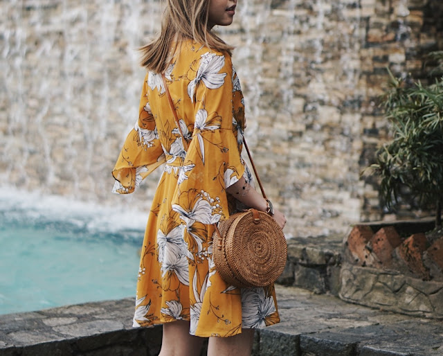 floral yellow dress outfit