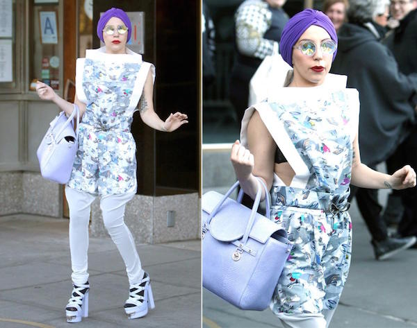 Funky look of Lady Gaga when she stepped out in a purple turban with diamond glasses.