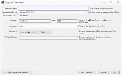 Configura mysql client