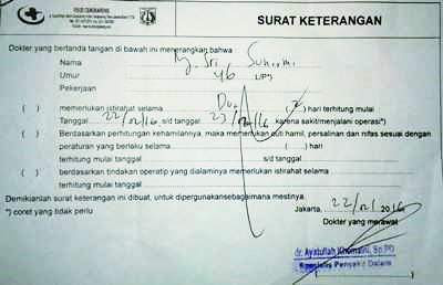 contoh surat keterangan sakit dari dokter klinik