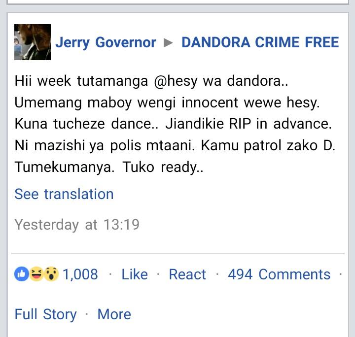 Dandora Gangbanger Issue Death Threats To Hessy
