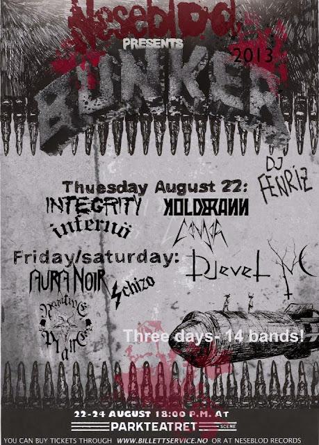 Bunker II Festival 2013 @ Parkteatret, Oslo (Norvège) 22-24/08/2013