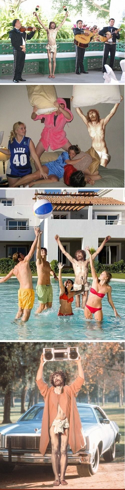 Funny Crucified Jesus Poses - Maracas, Pillow Fight, Pool party, ghetto blaster