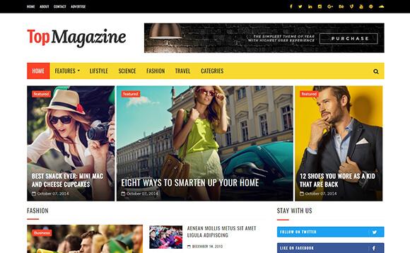 Top magazine Blogger template responsive