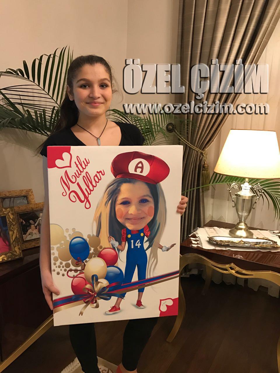 Hediye Karikatür Super Mario, kızıma hediye, karikatür,doğum günü hediyesi, çocuğunuza hediye, eğlenceli hediye, komik hediye, super mario, anne kız, Farklı Hediye, Özel Çizim,