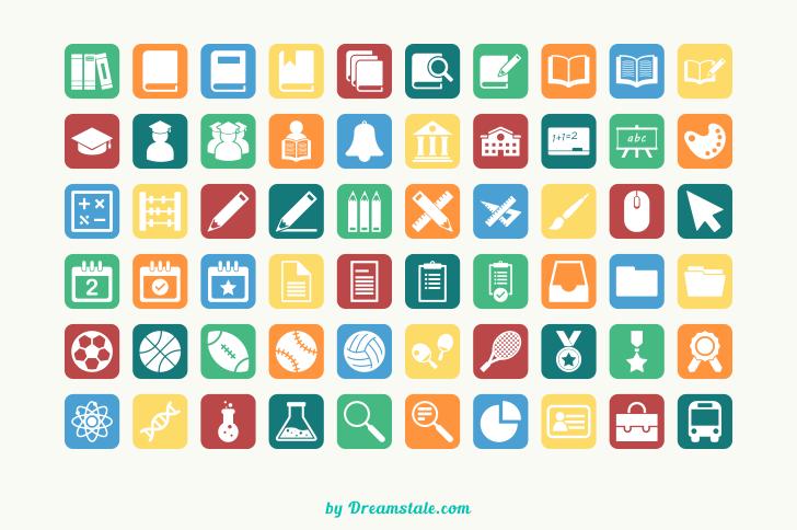 Paquete con 60 Iconos de elementos de educación