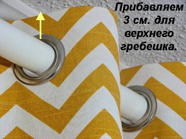 картинка расчет ткани для пошива штор на люверсах
