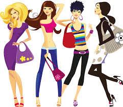 Dibujo de cuatro mujeres con sus propios estilos de ropa.