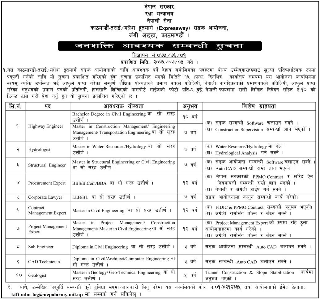 Vacancies for Various Post to Kathmandu Terai Fast Track Project