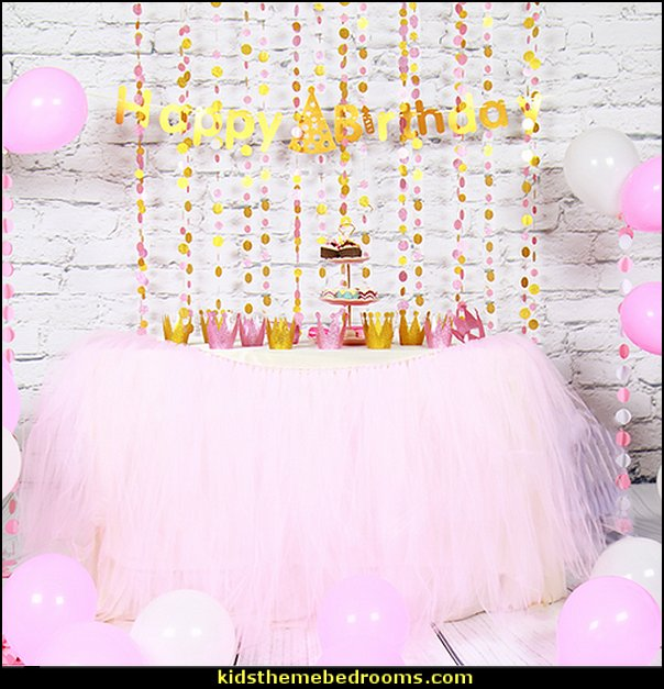 Princess Birthday Decoration Sets Happy Birthday Banner Paper Garland Balloon Table Skirt Decoration Girls Birthday Party