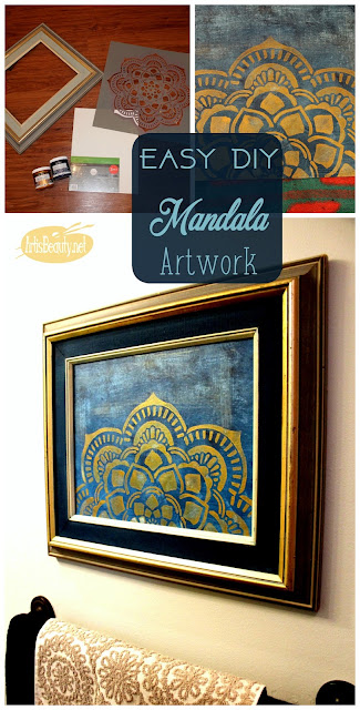 Boho Style easy diy mandala artwork canvas metallics gold and indigo