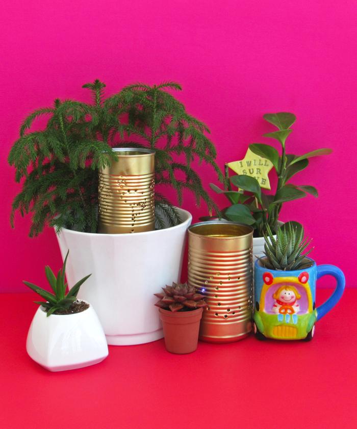 reusa, reduce, recicla, lámparas de jardín con latas vacías, manualidades, hazlo tú mismo, reciclaje, Día de la Tierra, creatividad