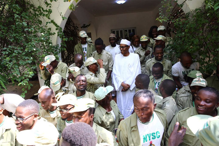 President Buhari receives NYSC members at his hometown residence in Katsina