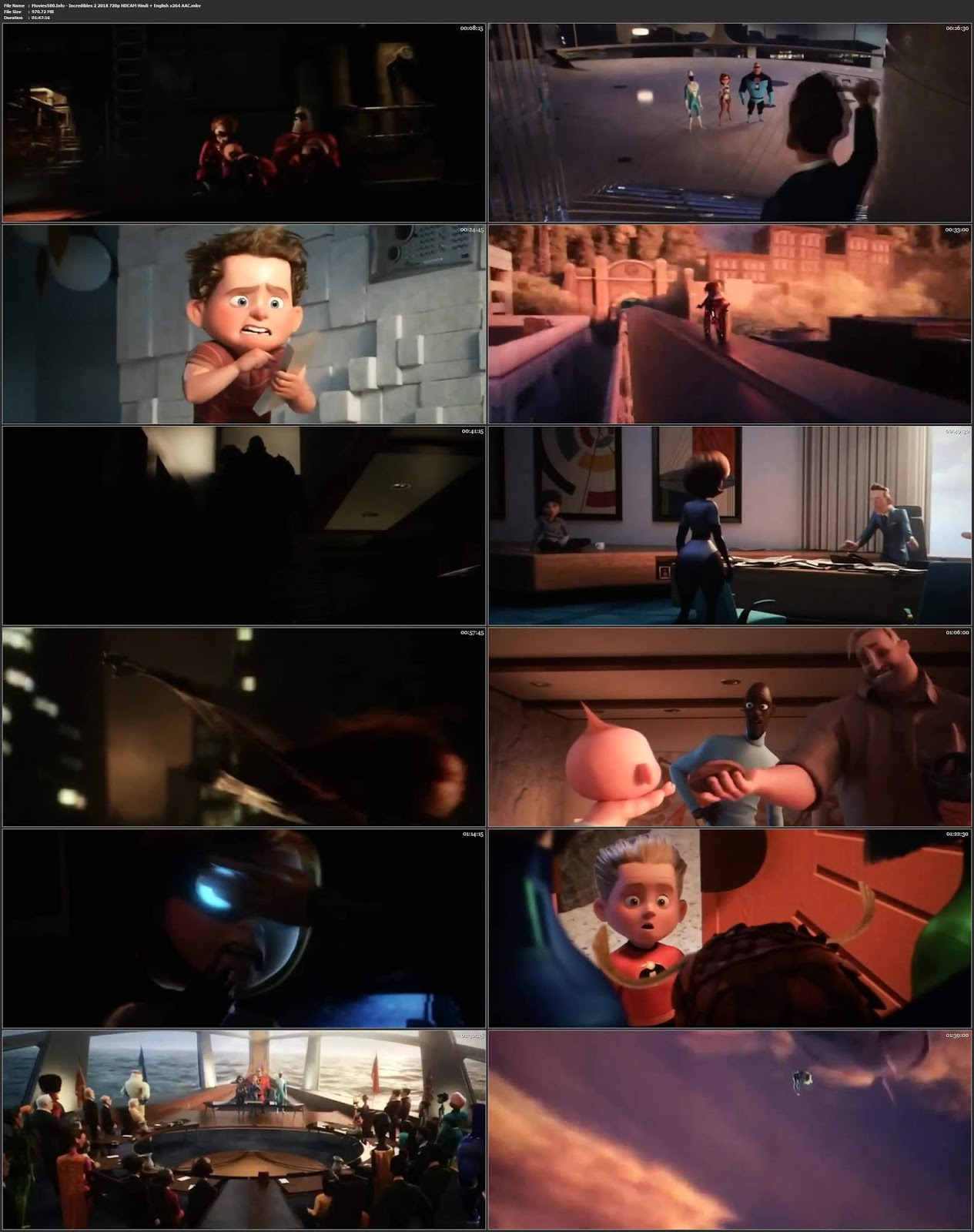 Incredibles 2 2018 Hindi Dubbed ENG 300MB HDCAM 480p