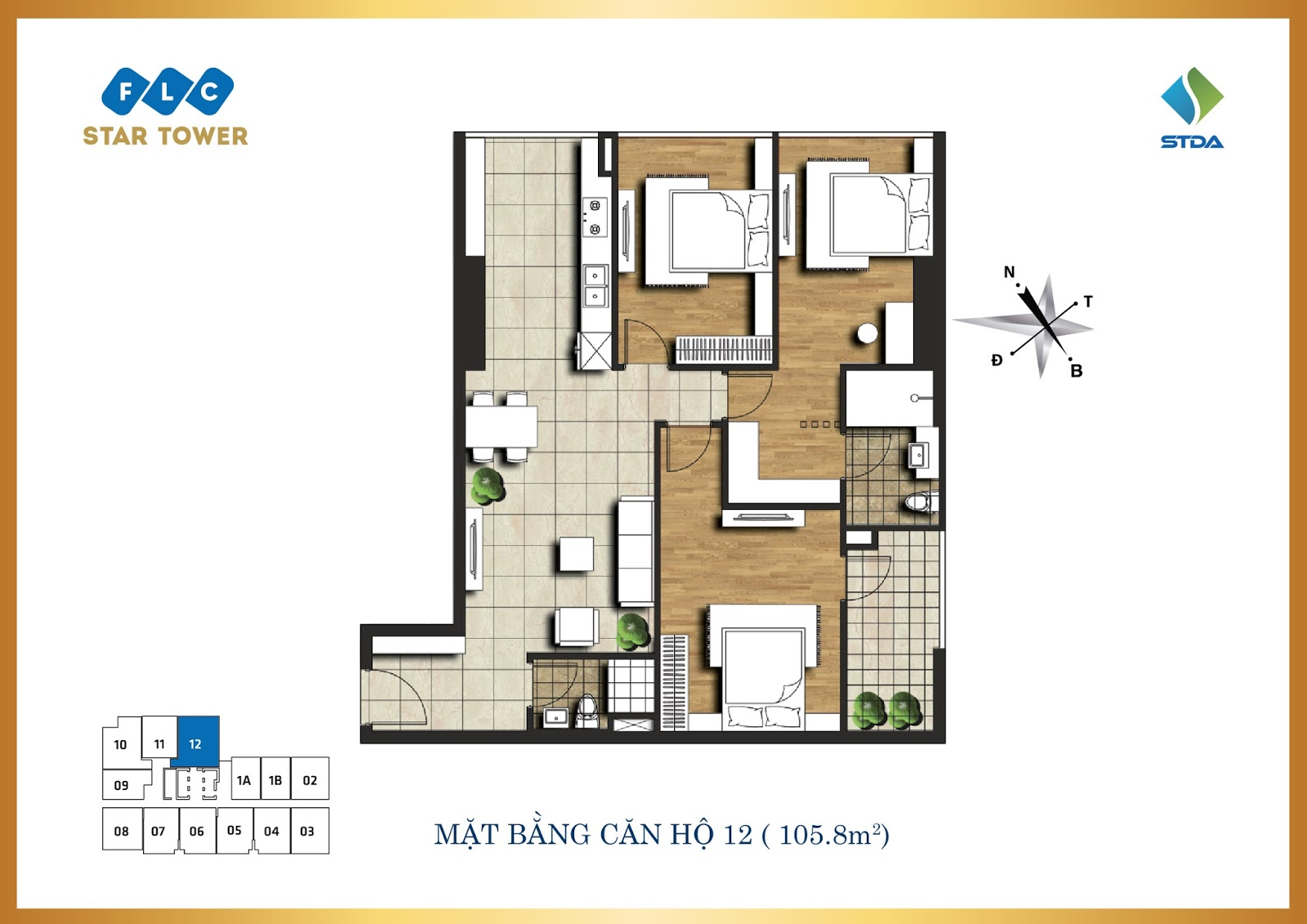 Thiết kế căn hộ số 12 - Chung cư FLC Star Tower