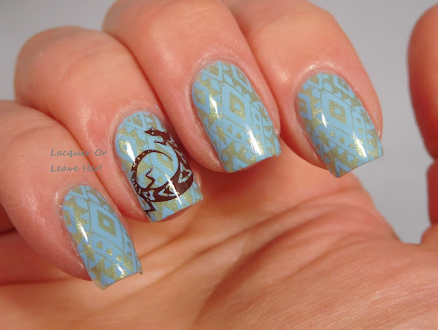 Marianne Nails 124 over Zoya Lacey, stamped with Messy Mansion polishes