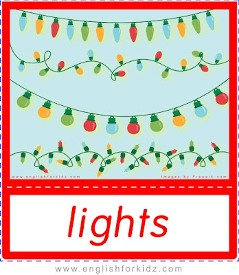 Christmas flashcards for kids, Christmas lights