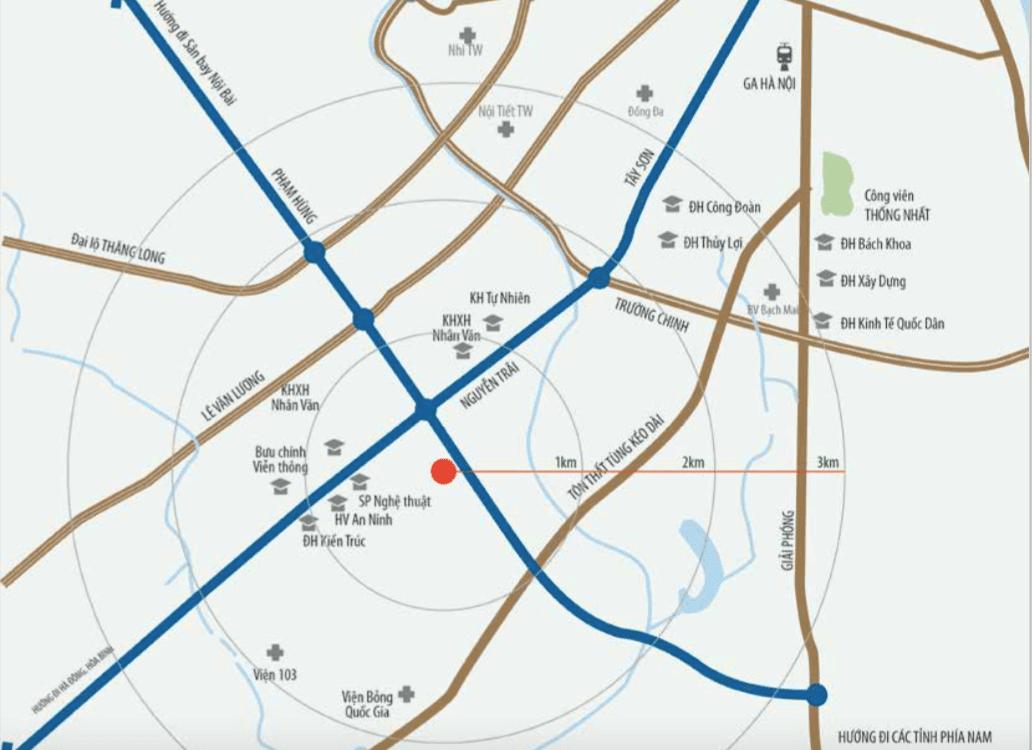 Vị trí dự án chung cư Housico Grand Tower Nguyễn Xiển