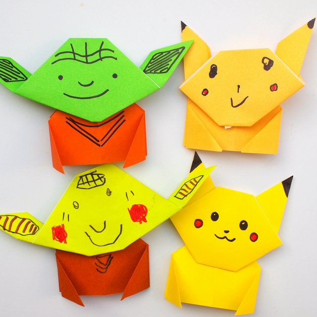 origaimi pikachu and yoda craft for kids-super easy to fold!