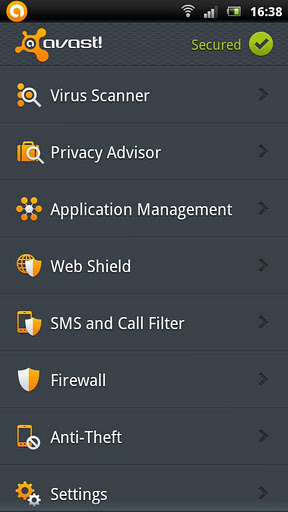 Free Download antivirus apk untuk android - Avast Mobile Security terbaru 2012
