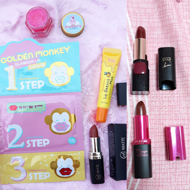 Skinpotions Strawberry sorbet scrub, Holika Holika Golden Monkey Glamour Lip, Prreti Honey & Berry lip sleeping mask, eb Matte Toast of New York, L'Oreal in Collection Star Sonam and Rouge Magique 903 Miss Chocolate.