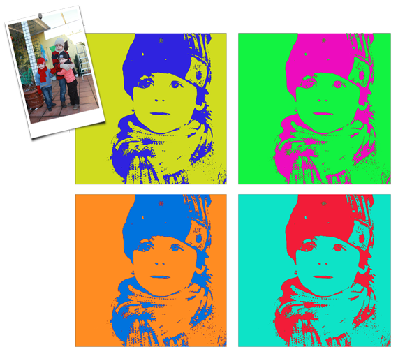 customized Andy Warhol portraits to decorate kid's rooms