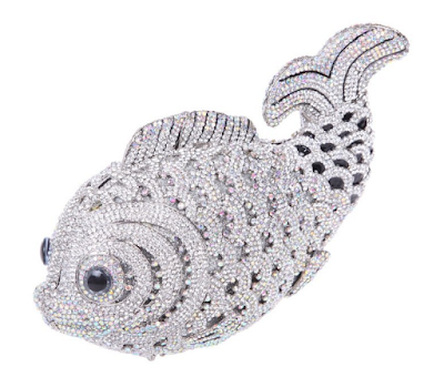 Crystal fish formal clutch purse