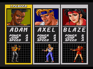Tela de escolha de personagem do Street of Rage