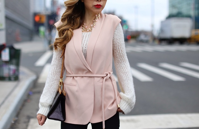 Vince camuto belted vest, pink vest, belted vest, Louis Vuitton bag, rayban sunglasses, baublebar arderson necklace, j brand jeans, christian louboutin so kate pumps, spring outfit, spring fashion, work attire