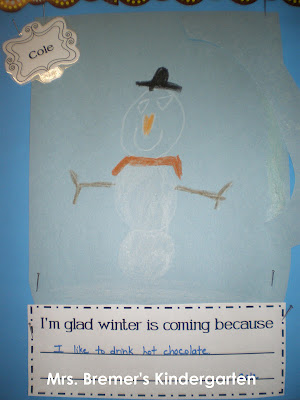 Winter hot chocolate bulletin board for Kindergarten