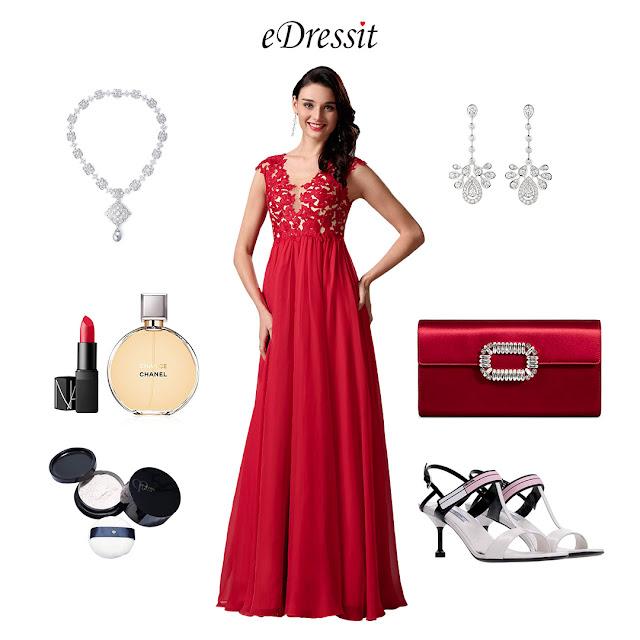 elegant red lace prom dress A-line