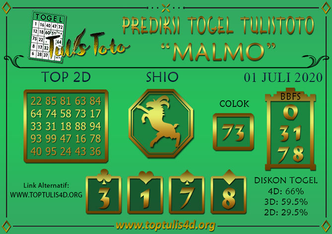 Prediksi Togel MALMO TULISTOTO 01 JULI 2020