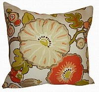 Orange and lime floral patio pillows