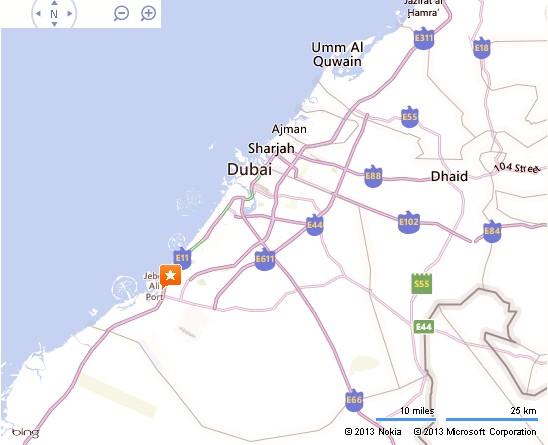 UAE Dubai Metro City Streets Hotels Airport Travel Map Info: Emirates Towers Dubai Location Map