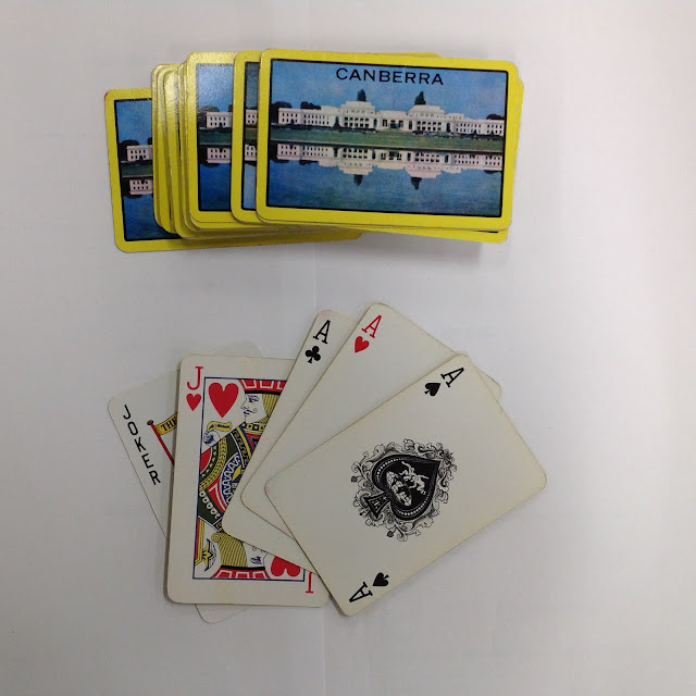 Playing cards featuring Old Parliament House, date unknown