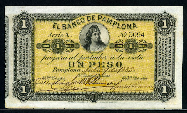 Colombia currency Banco Pamplona Peso