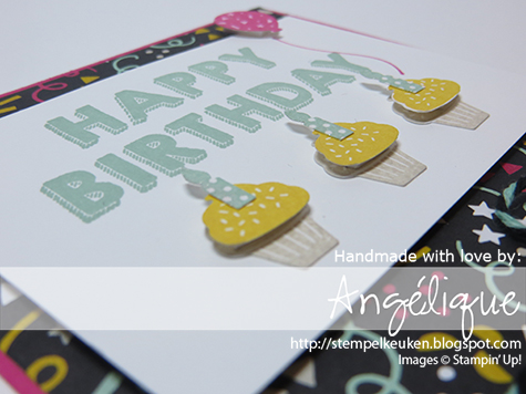 http://stempelkeuken.blogspot.com Party Wishes, It's My Party bundle, It's My Party DSP, Silver Sequins, Basic Black, Mint Macaron, Melon Mambo, Crushed Curry, Stampin' Dimensionals, Fine Tip Glue, Party Punch Pack de Stempelkeuken