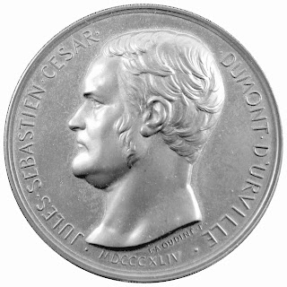 Figure 4 : An 1844 French 68mm bronze medallion commemorating  Admiral Jules Dumont d'Urville shortly after his untimely demise in a train accident.