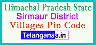 Sirmaur District Pin Codes in Himachal Pradesh State