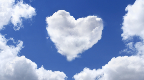 Love heart clouds blue sky