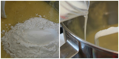 adding flour, adding milk, making a cake