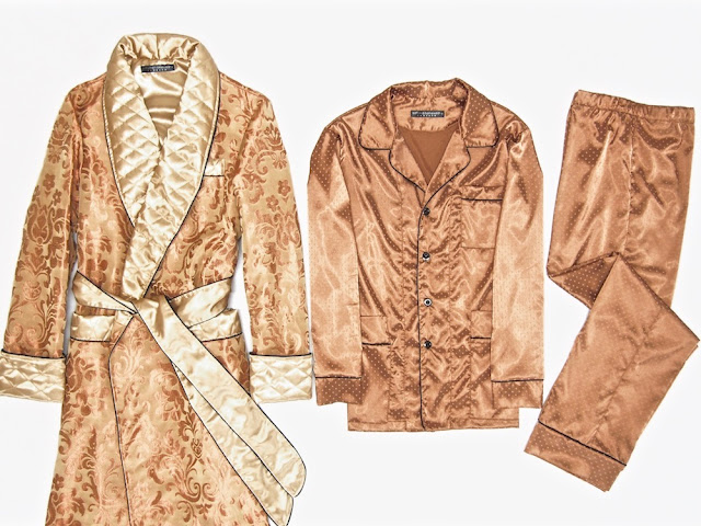 Men's gold paisley silk luxury robe and pajamas traditional quilted dressing gown gentleman
