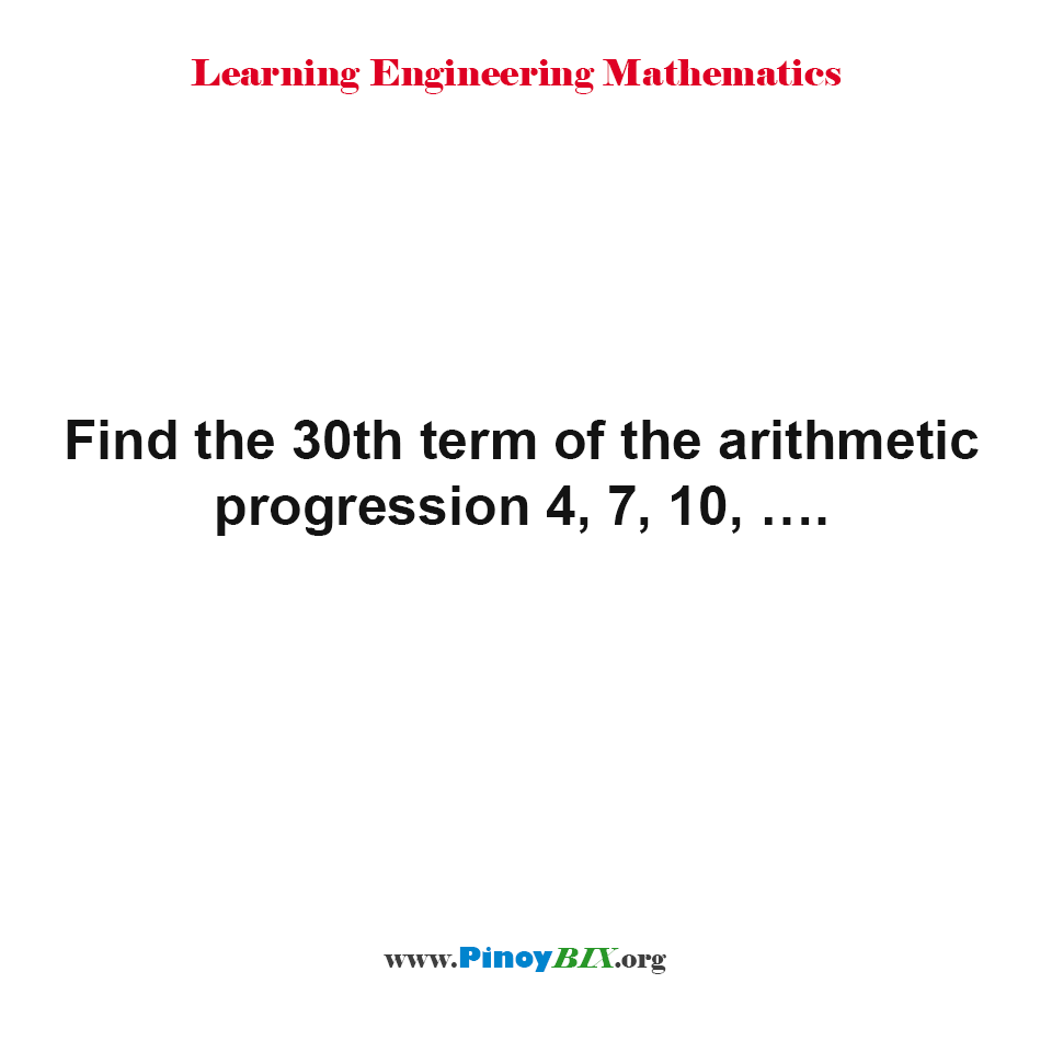 What is the 30th term of the arithmetic progression?