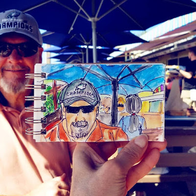 Sketchbook painting in travel journal at JBs Fishcamp in New Smryna Beach Florida by Merrill Weber The Good Life of an Artist Blog