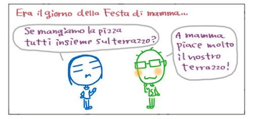 Era il giorno della Festa di mamma… Se mangiamo la pizza tutti insieme sul terrazzo? A mamma piace molto il nostro terrazzo!