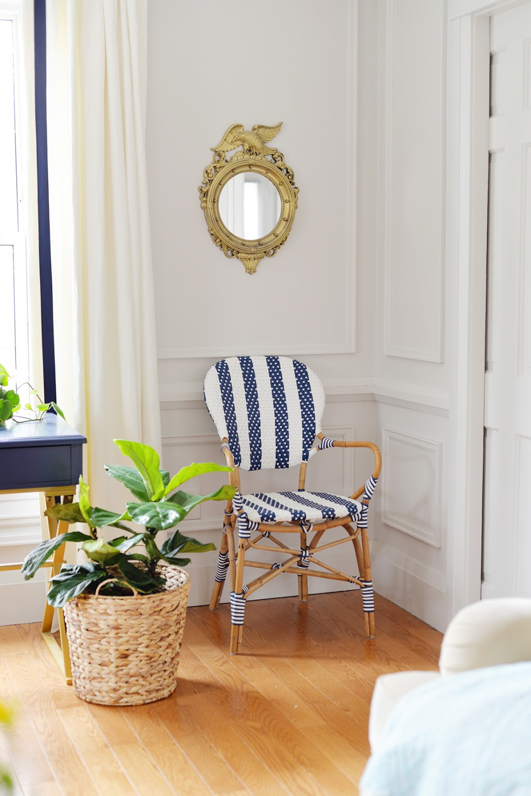 blue desk, spring decorating, blue and white striped bistro chair