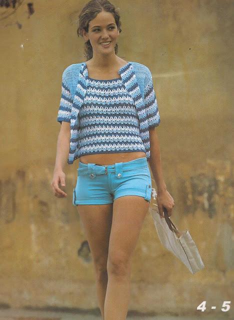 Patrón #810: Blusa y Chaqueta a Crochet