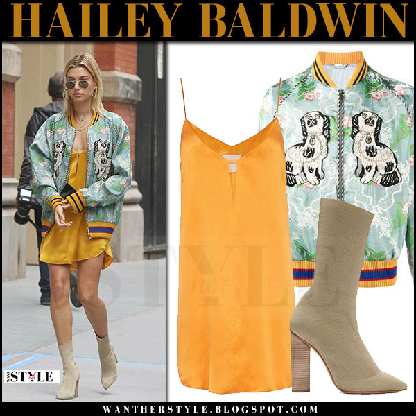 Hailey Baldwin in green floral bomber gucci jacket and orange slip mini dress michelle mason what she wore may 28 2017